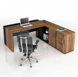 Mesa conjugada Diretor 40mm com armário pedestal e caixa de tomadas Prius