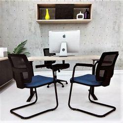Kit 2 Cadeiras Aproximação Brizza base preta