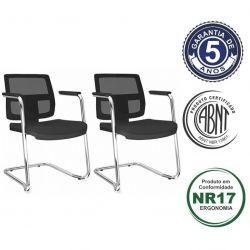 Kit 2 Cadeiras Aproximação Brizza base cromada