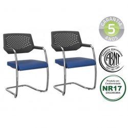 Kit 2 Cadeiras Aproximação Piena empilhavel cromada