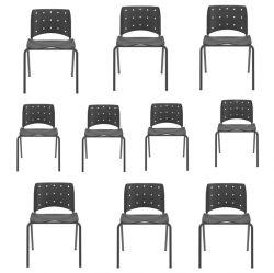 kIT 10 Cadeiras Ergoplax Slim fixa Preta