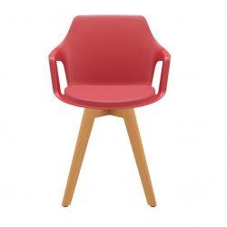 Kit 4 Cadeiras aproximação Vesper estofada pés em madeira